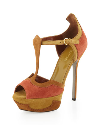 Peep-Toe Platform Sandal, Dark Orange