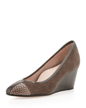 Katrin Perforated Wedge Pump, Gray