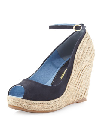 Dulaka Suede and Raffia Wedge, Blue