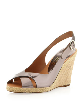 Milan Metallic Crisscross Wedge, Pewter