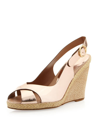 Milan Metallic Crisscross Wedge, Pink