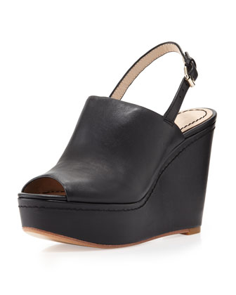 Lena Slingback Peep-Toe Wedge, Black