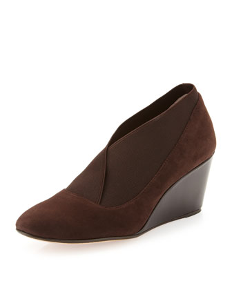 Kelly Wide-Gore Suede Wedge, Brown