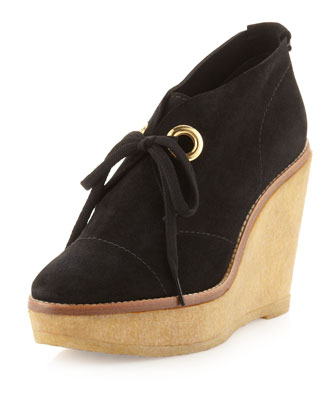 Platform Wedge Suede Ankle Boots, Black