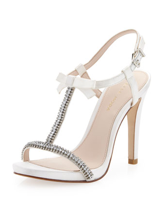 Tabby Bejeweled T-Strap Sandal, White