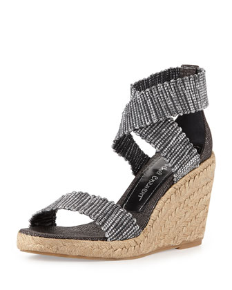 Pamela Metallic Stretch Wedge, Black