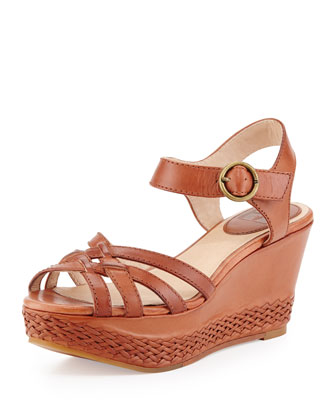 Carlie 2 Piece Woven Leather Wedge Sandal, Cognac