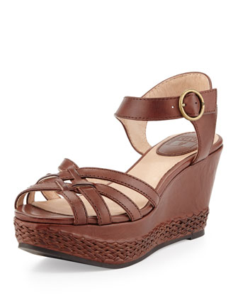 Carlie 2 Piece Woven Leather Wedge Sandal, Dark Brown