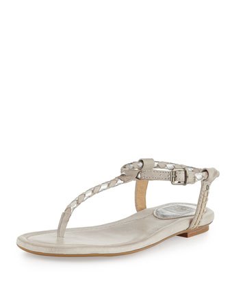 Madison Braided Thong Sandal, Silver Multi