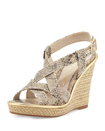 Andrea Snakeskin Wedge Sandal, Neutral