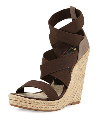 Fela Strappy Wedge Sandal, Brown