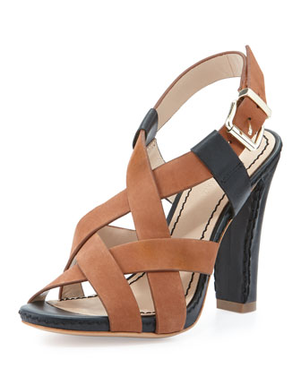 Vy Two-Tone Crisscross Sandal, Black/Cognac