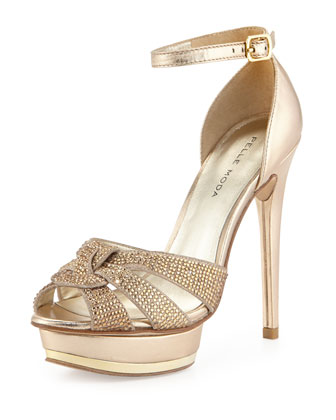 Ava Jeweled Metallic Leather and Suede Peep Toe Sandal, Platinum Gold