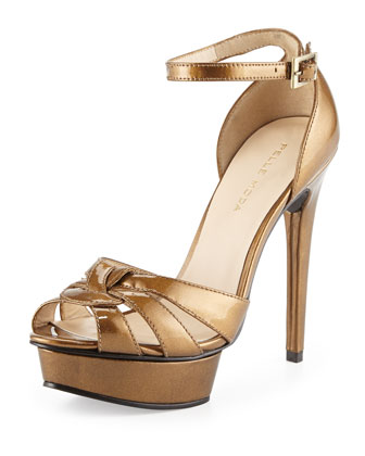 Avi Patent Leather Peep Toe Sandal, Amber
