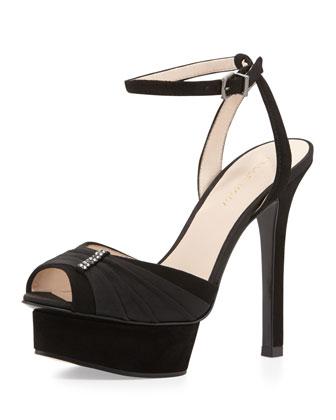Ellen Suede Peep Toe Platform Sandal, Black