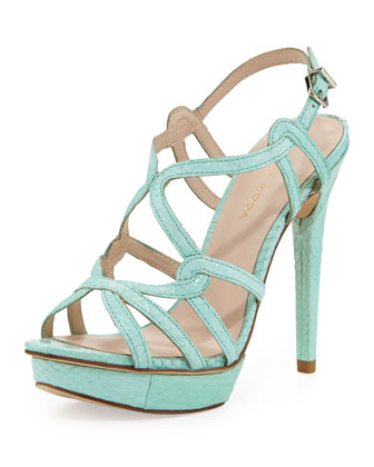 Flirty Snake-Print Leather Sandal, Aqua