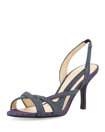 Gretel Iridescent Shimmer Fabric Sandal, Azure