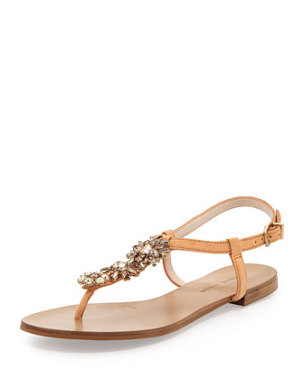 Haden 2 Jeweled Suede T-Strap Sandal, Peach