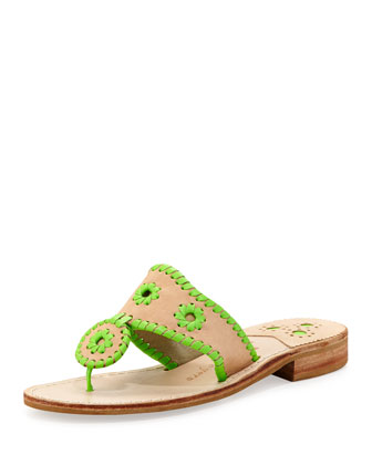 Neon Whipstitch Thong Sandal, Lime
