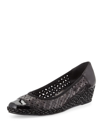 Madia Cutout-Leather Espadrille Wedge, Black