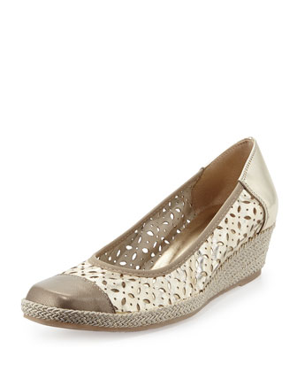 Madia Cutout-Leather Espadrille Wedge, Yute/Opal