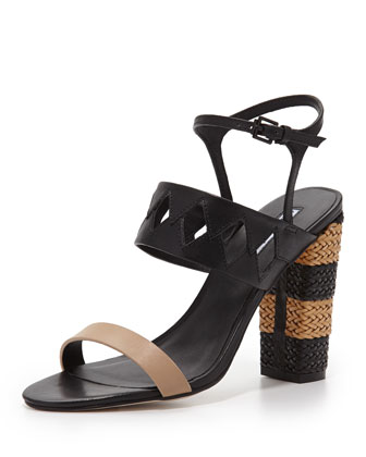 Jungle Woven Diamond Cutout Sandal, Nude/Black