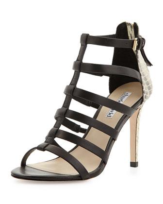 Idealize Snakeskin Strappy Sandal, Black