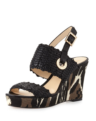 Milo Woven Leather Slingback Wedge, Black