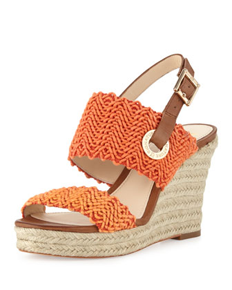 Milo Crochet Slingback Wedge, Orange
