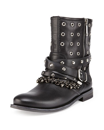 Eyelet Leather Moto Boot, Black