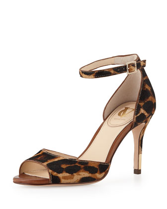 Nilah Leopard-Print Calf Hair Sandal, Natural