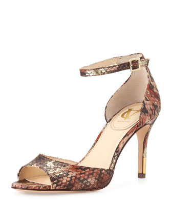 Nilah Snake-Print Sandal, Brown Multi