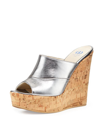 Sterling Metallic Slide-On Wedge, Pewter