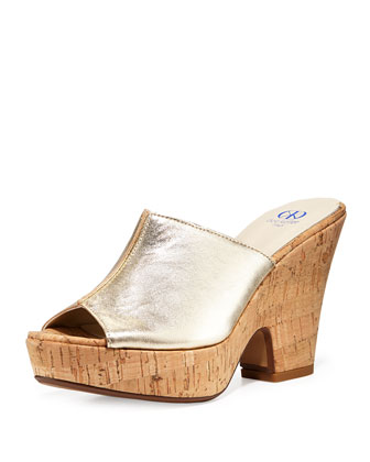 Amanda Metallic Leather Cork Slide-On Sandals, Gold