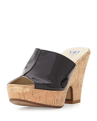 Amanda Patent Cork Slide-On Sandals, Black
