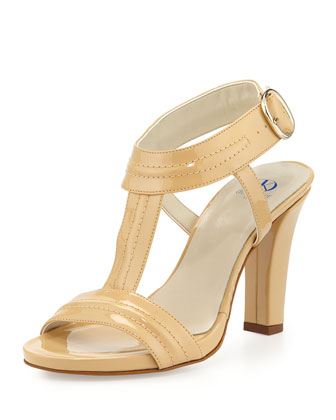 Eva Topstitched T-Strap Leather Sandal, Nude
