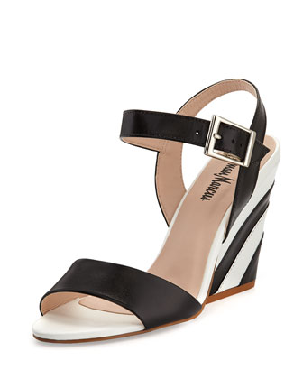 Lourdes Striped Heel Sandal, Black/White