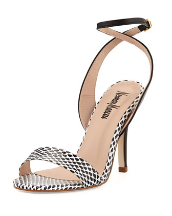 Sydney Snake-Embossed Ankle-Wrap Sandal, Black/White