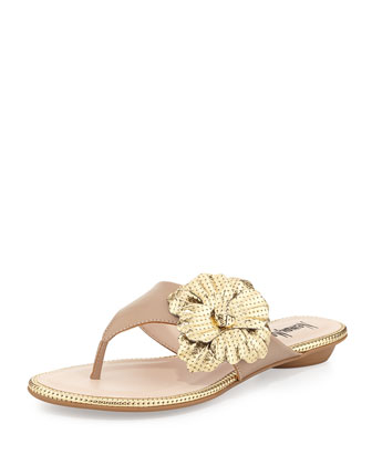 Savannah Floral Golden Thong Sandal, Camel/Gold