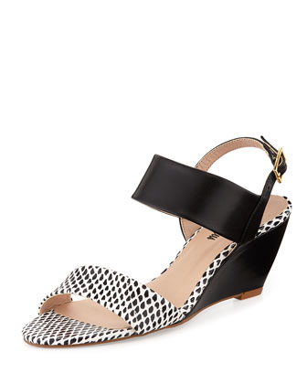 Camden Snake-Embossed Double-Band Wedge, Black/White