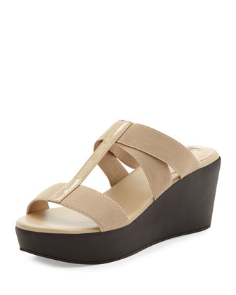 Florence crisscross Slide-On Wedge, Beige