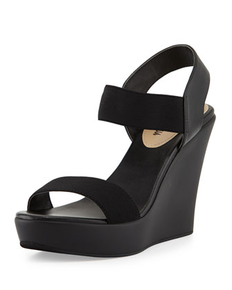 Privy Stretch Ankle-Strap Slide-On Sandal, Black