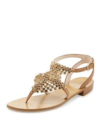 Billie Chain-Mail T-Strap Gladiator Sandal, Tan