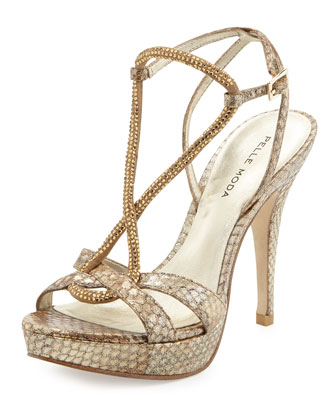 Vino Metallic Snakeskin Leather Pump, Buttermilk