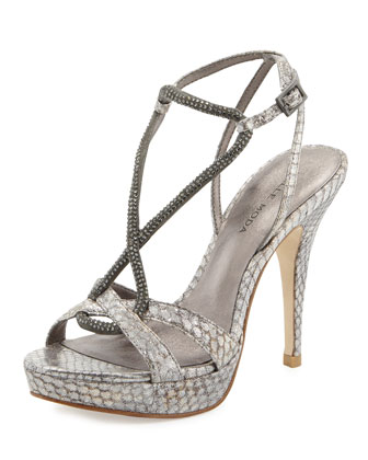Vino Metallic Snakeskin Leather Pump, Elephant