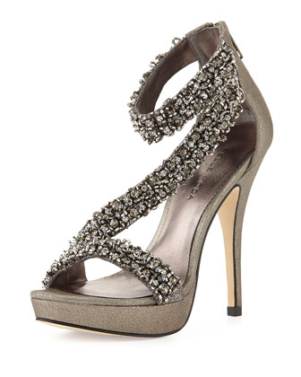 Favilla Beaded Metallic Leather Pump, Pewter