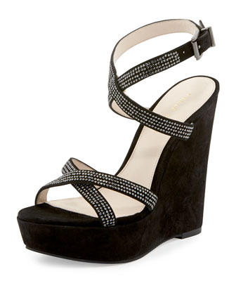 Olin Suede Rhinestone Wedge, Black