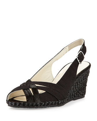 Suede Leather Combo Wedge, Black
