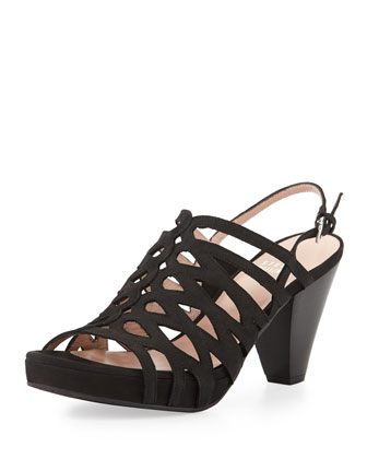 Tuckedin Scalloped Cutout Slingback Sandal, Black