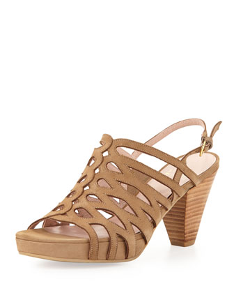 Tuckedin Scalloped Cutout Slingback Sandal, Tan